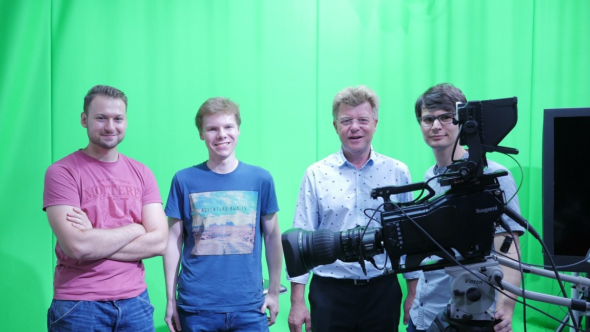 Accompanying image shows Mike Christmann, Professor of Media Technology at RheinMain University of Applied Sciences (mid-right) and EVI Project team colleagues with the Ikegami UHK-430 HDR camera.